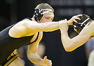 December 8, 2011: Iowa Hawkeyes Vinnie Wagner holds off Northern Iowa Panthers Ryan Loder in the 184 pound bout of the NCAA wrestling dual between the Northern Iowa Panthers and the Iowa Hawkeyes at Carver-Hawkeye Arena in Iowa CIty, Iowa on Thursday, December 8, 2011. Loder defeated Wagner 13-2 and Iowa defeated Northern Iowa 38-4.