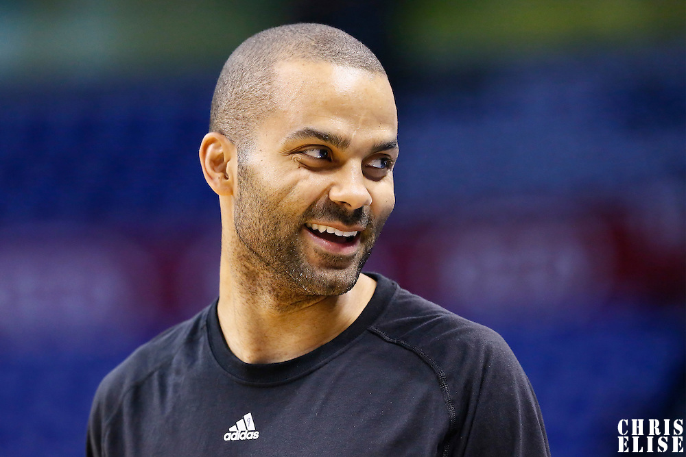 06 May 2016: San Antonio Spurs guard Tony Parker (9) warms up prior to the San Antonio Spurs 100-96 victory over the Oklahoma City Thunder, during Game Three of the Western Conference Semifinals of the NBA Playoffs at the Chesapeake Energy Arena, Oklahoma City, Oklahoma, USA.