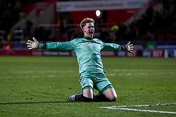 Dean Henderson of Shrewsbury Town celebrates to Shrewsbury Town fans after the final whistle - Mandatory by-line: Ryan Crockett/JMP - 18/11/2017 - FOOTBALL - Aesseal New York Stadium - Rotherham, England - Rotherham United v Shrewsbury Town - Sky Bet League One