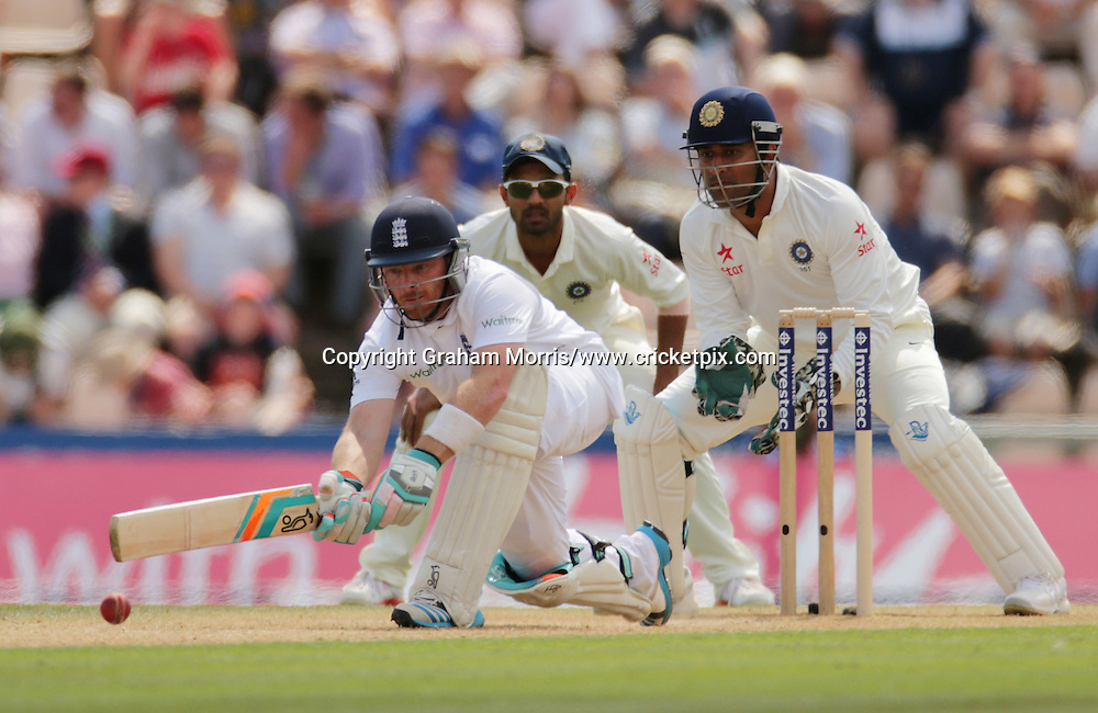 Ian Bell sweeps Ravindra Jadeja during the third Investec Test Match between England and India at the Ageas Bowl, Southampton. Photo: Graham Morris/www.cricketpix.com (Tel: +44 (0)20 8969 4192; Email: graham@cricketpix.com) 28/07/14