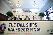 (L) translator and (2L) Christer Samuelsson (Chairman of Tall Ships Races Europe Limited) and (C) Piotr Krzystek (Major of Szczecin) and (2R) Marcin Bachara (Eska Radio) and Jakub Kowalski (press officer) while press conference during The Tall Ships Races 2013 on Odra River in Szczecin, Poland.<br /> <br /> Poland, Szczecin, August 02, 2013<br /> <br /> Picture also available in RAW (NEF) or TIFF format on special request.<br /> <br /> For editorial use only. Any commercial or promotional use requires permission.<br /> Mandatory credit:<br /> Photo by &copy; Adam Nurkiewicz / Mediasport