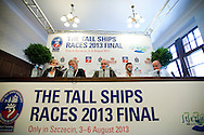 (L) translator and (2L) Christer Samuelsson (Chairman of Tall Ships Races Europe Limited) and (C) Piotr Krzystek (Major of Szczecin) and (2R) Marcin Bachara (Eska Radio) and Jakub Kowalski (press officer) while press conference during The Tall Ships Races 2013 on Odra River in Szczecin, Poland.<br /> <br /> Poland, Szczecin, August 02, 2013<br /> <br /> Picture also available in RAW (NEF) or TIFF format on special request.<br /> <br /> For editorial use only. Any commercial or promotional use requires permission.<br /> Mandatory credit:<br /> Photo by © Adam Nurkiewicz / Mediasport