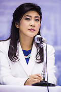 03 MARCH 2013 - BANGKOK, THAILAND: YINGLUCK SHINAWATRA, the Thai Prime Minister, makes the announcement that Pongsapat Pongchareon, her party's candidate for Governor of Bangkok, lost the election. Pongsapat Pongchareon, running on the Pheu Thai ticket, lost the Bangkok's Governor's race to MR Sukhumbhand Paribatra, the incumbent running on the Democrat ticket. Sukhumbhand won the race after scoring a record number of votes, more than 1.2 million to Pongsapat's 1 million. The results were seen as an upset even though Sukhumbhand was the incumbent because all of the pre-election polls and the exit polls conducted on election day showed Patsapong winning..     PHOTO BY JACK KURTZ