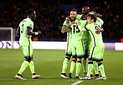 Manchester City celebrate Fernandinho's equaliser - Mandatory by-line: Robbie Stephenson/JMP - 06/04/2016 - FOOTBALL - Parc des Princes - Paris,  - Paris Saint-Germain v Manchester City - UEFA Champions League Quarter Finals First Leg