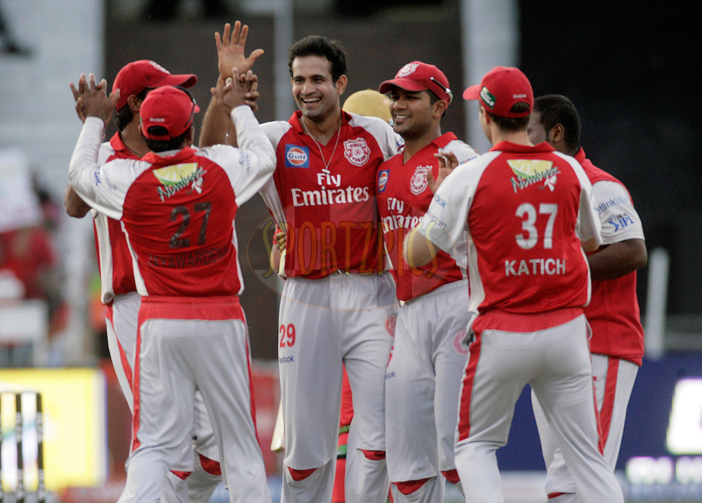 DURBAN, SOUTH AFRICA - 1 May 2009. Bangalore celebrate the wicket of Jesse Ryder during the IPL Season 2 match between Kings X1 Punjab and the Royal Challengers Bangalore held at Sahara Stadium Kingsmead, Durban, South Africa..