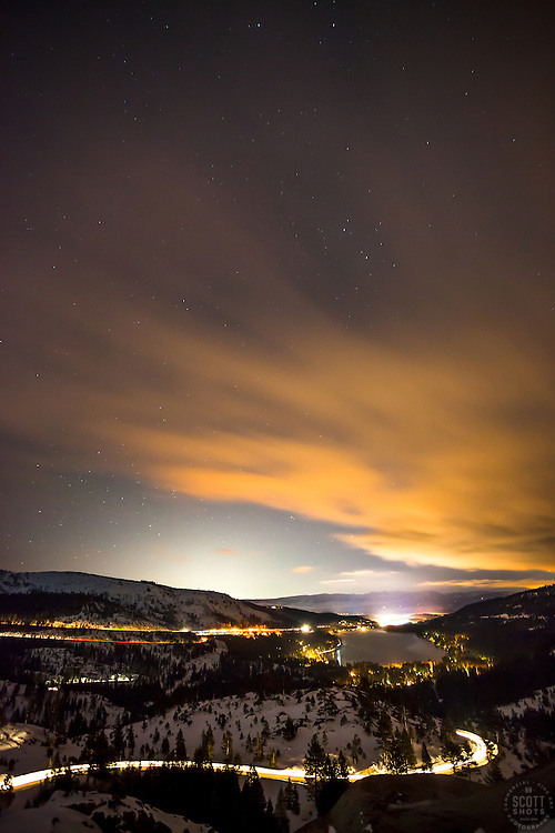 """Donner Lake at Night 3"" - Photograph of a starry night, Donner Lake, and Truckee, California shot at night."
