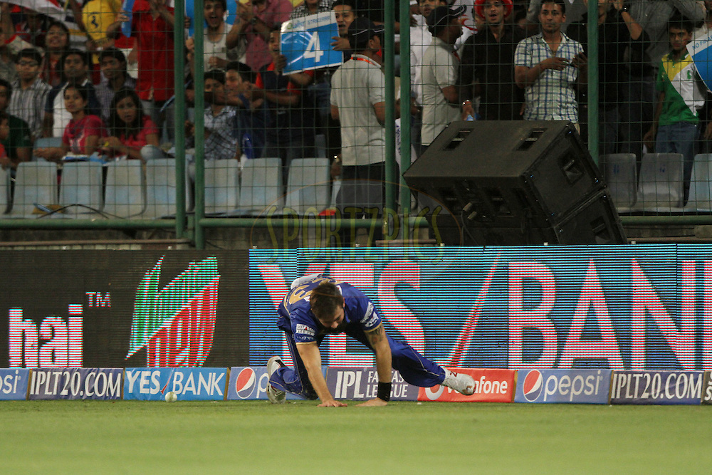 Kane Richardson of the Rajatshan Royals trying to save boundary during match 23 of the Pepsi Indian Premier League Season 2014 between the Delhi Daredevils and the Rajasthan Royals held at the Feroze Shah Kotla cricket stadium, Delhi, India on the 3rd May  2014<br /> <br /> Photo by Deepak Malik / IPL / SPORTZPICS<br /> <br /> <br /> <br /> Image use subject to terms and conditions which can be found here:  http://sportzpics.photoshelter.com/gallery/Pepsi-IPL-Image-terms-and-conditions/G00004VW1IVJ.gB0/C0000TScjhBM6ikg