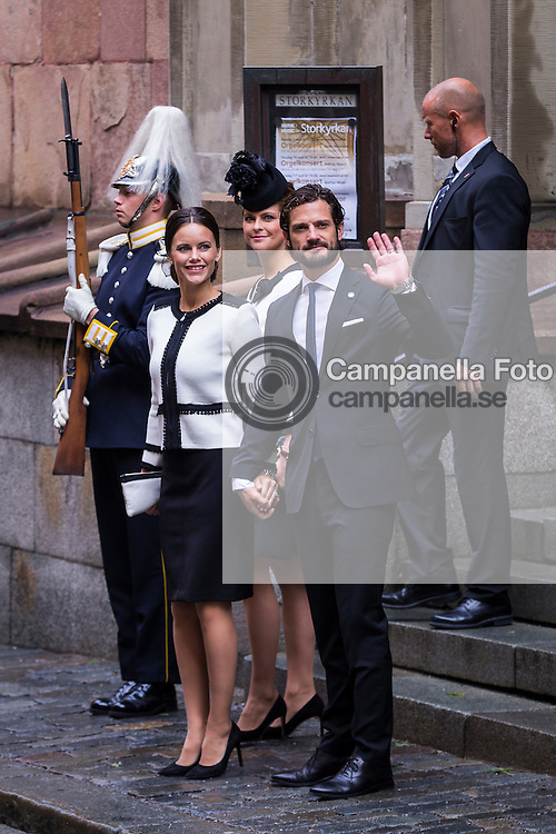 STOCKHOLM, SWEDEN - SEPTEMBER 15: Princess Sofia, Princess Madeleine, and Prince Carl Phillip of Sweden depart after attending service at the Church of St. Nicholas  in connection with the opening of the parliamentary session on September 15, 2015 in Stockholm, Sweden. (Photo by Michael Campanella/Getty Images)