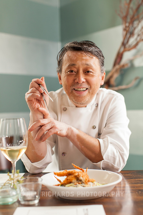 James Beard-award winning chef, Nobuo Fukuda preparing a himachi and grapefruit dish at his restaurant, Nobuo at Teeter House located in Phoenix, Arizona.
