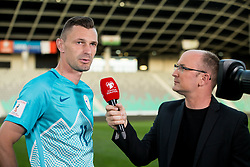 Milivoje Novakovic of Slovenia at interview with Anze Baselj of TV Slovenija after he played his last match in his career after football match between National teams of Slovenia and Malta in Round #6 of FIFA World Cup Russia 2018 qualifications in Group F, on June 10, 2017 in SRC Stozice, Ljubljana, Slovenia. Photo by Vid Ponikvar / Sportida