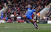 Clearance by Gillingham defender Gabriel Zakuani  during the EFL Sky Bet League 1 match between Bradford City and Gillingham at the Northern Commercials Stadium, Bradford, England on 24 March 2018. Picture by Paul Thompson.