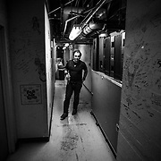 CHARLOTTESVILLE, VA - MARCH 23: Phillip Roebuck pauses while making his way to the stage before performing at a benefit concert at the Paramount Theater on Sunday, March 23, 2014 in Charlottesville, Va. (Photo by Jay Westcott/Zuma Press)