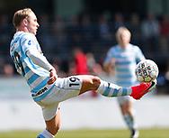 FODBOLD: Pierre Larsen (FC Helsingør) tæmmer bolden under kampen i NordicBet Ligaen mellem Nykøbing FC og FC Helsingør den 7. maj 2017 i Nykøbing Falster Idrætspark. Foto: Claus Birch