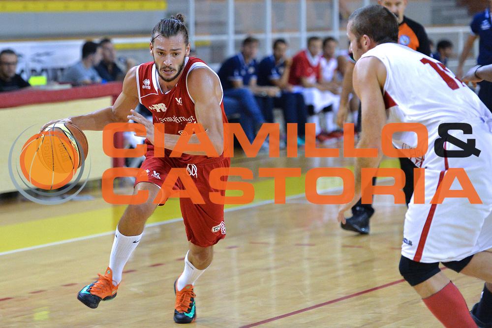 DESCRIZIONE : Viadana Trofeo del 50' esimo Lega A 2014-15 Mantova Pesaro<br /> GIOCATORE : Raspino Tommaso<br /> CATEGORIA : Palleggio<br /> SQUADRA : Libertas Pesaro<br /> EVENTO :Torneo del 50'esimo<br /> GARA : Mantova vs  Pesaro<br /> DATA : 12/09/2014 <br /> SPORT : Pallacanestro <br /> AUTORE : Agenzia Ciamillo-Castoria/I.Mancini<br /> Galleria : Lega Basket A 2014-2015 Fotonotizia : Torneo del 50'esimo Lega A 2014-15 Mantova Pesaro <br /> Predefinita :