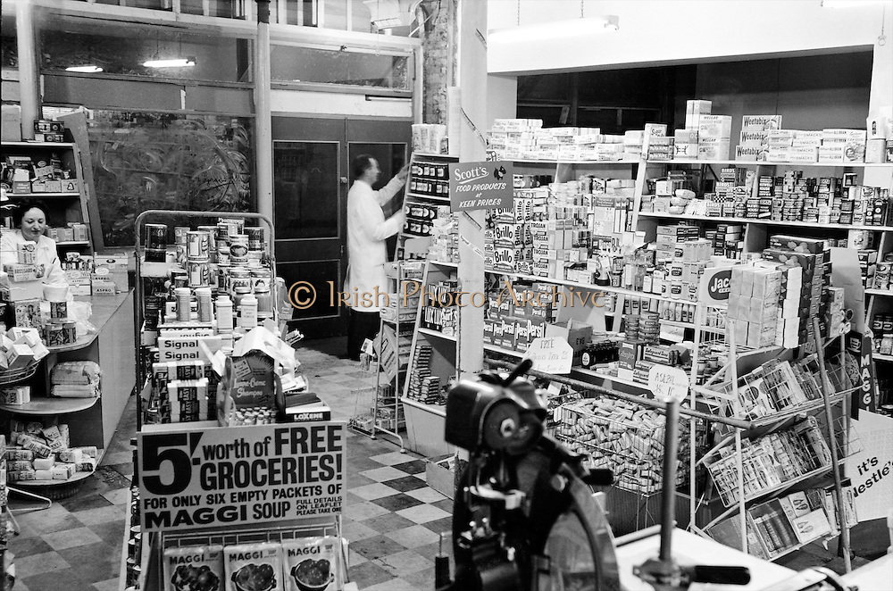 Feeneys, a modern grocery store at Dundrum, Dublin,  complete with white-coated shop assistants and all the essentials, from Brillo Pads to Milk of Magnesia..08.12.1961