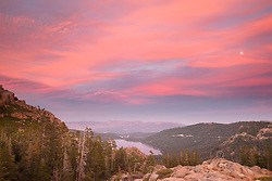 """Donner Lake Sunset 24"" - This sunset and moon were photographed above Donner Lake and Truckee, California."