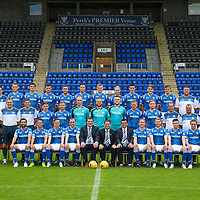 St Johnstone FC Photocall, 2015-16 Season....03.08.15<br /> Back row from left to right, Craig Maitland (Asst Physio), Ally Gilchrist, John Sutton, Graham Cummins, Tam Scobbie, Brad McKay, Brian Easton, Steven Anderson, Joe Shaughnessy, Gareth Rodger, Murray Davidson, George Browning (U20 GK Coach) and Ewan Peacock (Chief Scout)<br /> Middle row from left, Alex Headrick (Sports Science), Manny Fowler (Kit Manager), Steve Banks (GK Coach), Craig Thomson, Liam Caddis, Mark Hurst, Alan Mannus; Zander Clark, Scott Brown, Liam Craig, Alex Cleland (U20 Coach), Alistair Stevenson (Head of Youth Academy) and Scott Williams (Physio).<br /> Front row from left, Simon Lappin, Chris Millar, Steven MacLean, Dave Mackay (Captain), Tommy Wright (Manager), Steve Brown (Chairman), Callum Davidson (Asst Manager), Frazer Wright (Vice-Captain),David Wotherspoon, Michael O'Halloran and Chris Kane.<br /> Picture by Graeme Hart.<br /> Copyright Perthshire Picture Agency<br /> Tel: 01738 623350  Mobile: 07990 594431