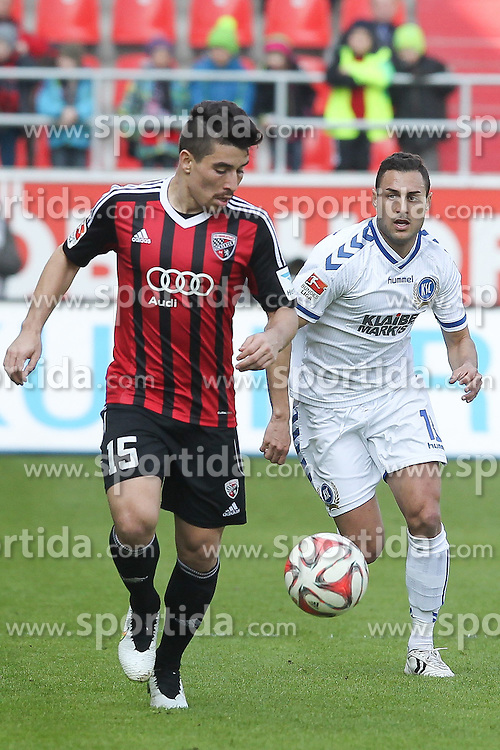 15.03.2015, Audi Sportpark, Ingolstadt, GER, 2. FBL, FC Ingolstadt 04 vs Karlsruher SC, 25. Runde, im Bild Danilo Soares Toedoro (Nr.15, FC Ingolstadt 04) gegen Manuel Torres (Nr.18, Karlsruher SC) // during the 2nd German Bundesliga 25th round match between FC Ingolstadt 04 and Karlsruher SC at the Audi Sportpark in Ingolstadt, Germany on 2015/03/15. EXPA Pictures &copy; 2015, PhotoCredit: EXPA/ Eibner-Pressefoto/ Strisch<br /> <br /> *****ATTENTION - OUT of GER*****