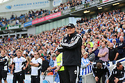 Cardiff City first team mamager Russell Slade during the Sky Bet Championship match between Brighton and Hove Albion and Cardiff City at the American Express Community Stadium, Brighton and Hove, England on 3 October 2015. Photo by Phil Duncan.