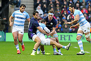 Sean Maitland and James Ritchie double team on Argentinian atttack during the Autumn Test match between Scotland and Argentina at Murrayfield, Edinburgh, Scotland on 24 November 2018.
