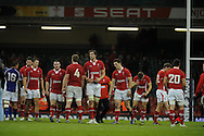 The Wales players show their dejection after losing the match. Dove Men series, autumn international rugby international, Wales v Samoa at the Millennium stadium,  Cardiff in South Wales on Friday 16th November 2012.  pic by Andrew Orchard, Andrew Orchard sports photography,