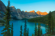 Moraine Lake and the Valley of the Ten Peaks at sunrise.<br />