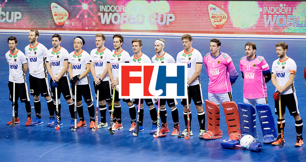 BERLIN - Indoor Hockey World Cup<br /> Men: Germany - Kazachstan<br /> foto: German line up.<br /> WORLDSPORTPICS COPYRIGHT FRANK UIJLENBROEK