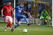 AFC Wimbledon attacker Shane McLoughlin (19) about to back heel the ball during the Pre-Season Friendly match between AFC Wimbledon and Bristol City at the Cherry Red Records Stadium, Kingston, England on 9 July 2019.