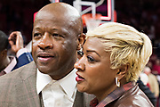 FAYETTEVILLE, AR - FEBRUARY 27:  Head Coach Mike Anderson of the Arkansas Razorbacks gets a hug from his wife, Marcheita after a game against the Auburn Tigers at Bud Walton Arena on February 27, 2018 in Fayetteville, Arkansas.  The Razorbacks defeated the Tigers 91-82.  (Photo by Wesley Hitt/Getty Images) *** Local Caption *** Mike Anderson