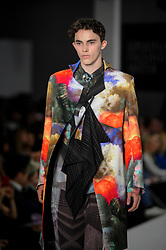 © Licensed to London News Pictures. 06/06/2018. LONDON, UK.  A model presents a look by Ambrose Frosaker Lunde from Edinburgh College of Art at the Best of Graduate Fashion Week 2018 show at the Old Truman Brewery in East London. The event presents the graduation show of up and coming fashion designers from UK and international universities.  Photo credit: Stephen Chung/LNP
