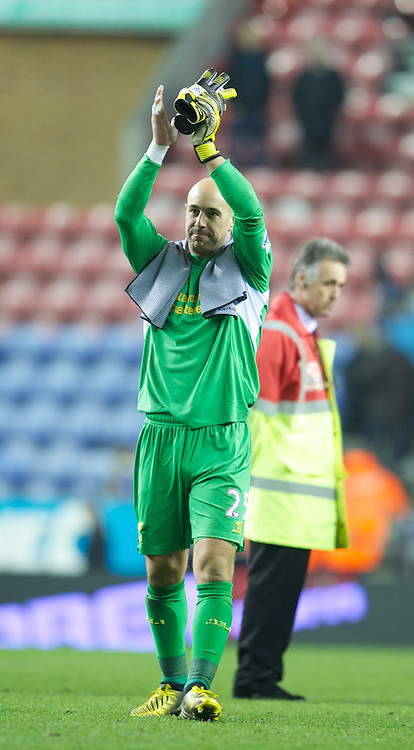 WIGAN, ENGLAND - Saturday, March 2, 2013: Liverpool's goalkeeper Jose Reina after the 4-0 victory over Wigan Athletic during the Premiership match at the DW Stadium. (Pic by David Rawcliffe/Propaganda)