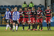 QPR team mates congratulate Dániel Tőzsér (QPR) for scoring. 1-0 to QPR during the Sky Bet Championship match between Sheffield Wednesday and Queens Park Rangers at Hillsborough, Sheffield, England on 23 February 2016. Photo by Mark P Doherty.
