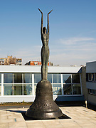 """""""Sacrafice"""" is a bronze statue erected to commemorate the deaths of Lithuanian people by the Soviet Union at the Vilnius TV Tower, 13 January 1991. Sculptor: Darius Bražiūns; architect: Artūras Asauskas"""