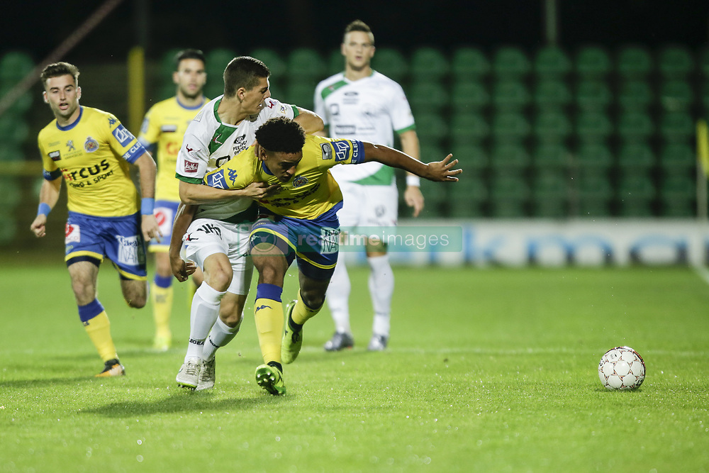 September 20, 2017 - Lommel, BELGIUM - Waasland-Beveren's Aleksandar Boljevic and Waasland-Beveren's Ryan Mmaee Nwaambeden fight for the ball during a Croky Cup 1/16 final game between Lommel United (1 (Am) and Waasland-Beveren, in Lommel, Wednesday 20 September 2017. BELGA PHOTO THIERRY ROGE (Credit Image: © Thierry Roge/Belga via ZUMA Press)