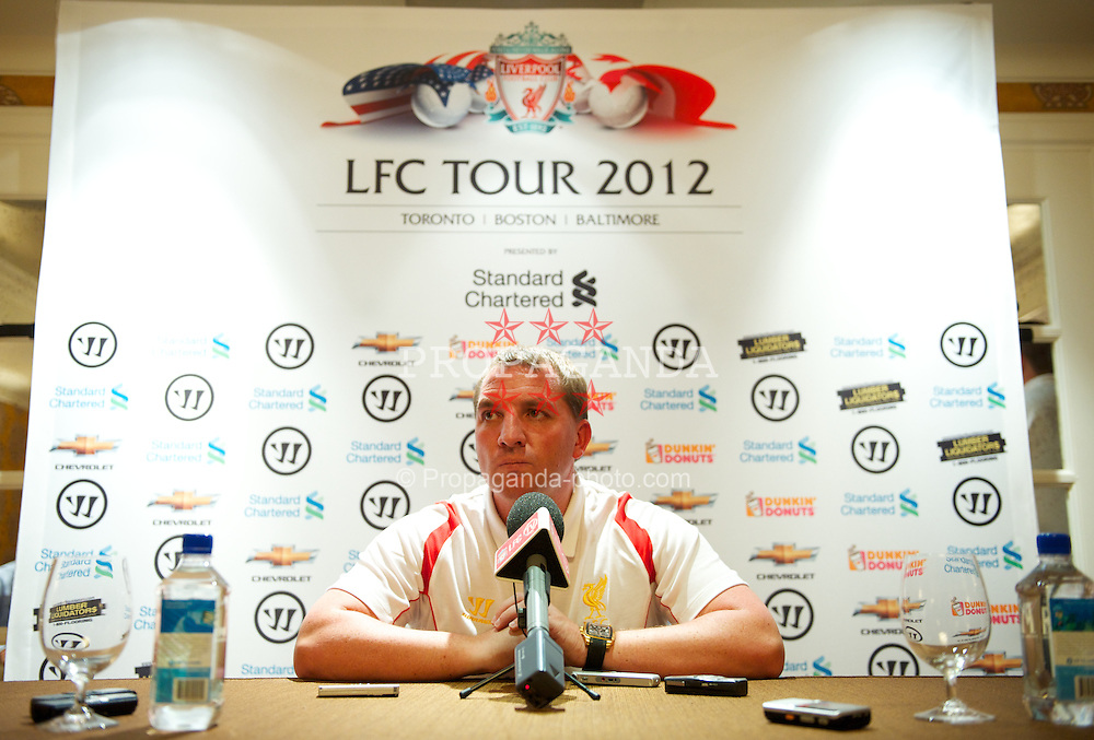 BOSTON, MA - Monday, July 16, 2012: Liverpool's manager Brendan Rodgers during a press conference to launch the side's North American pre-season tour of Toronto, Baltimore and Boston at the Four Seasons Hotel. (Pic by David Rawcliffe/Propaganda)
