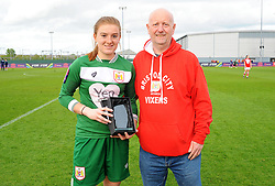 Sophie Baggaley of Bristol City is presented the Supporters Player of the Year  - Mandatory by-line: Nizaam Jones/JMP - 28/04/2019 - FOOTBALL - Stoke Gifford Stadium - Bristol, England - Bristol City Women v West Ham United Women - FA Women's Super League 1