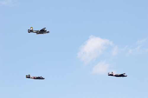 Some of a fleet of 20 World War II era B-25 bombers take part in a fly-over of the National Museum of the U.S. Air Force to commemorate the 70th anniversary of the Dolittle Tokyo Raiders strike into Japan., April 18, 2012.