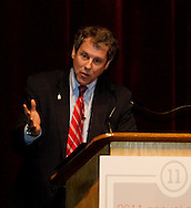 U.S. Sen. Sherrod Brown, D-Ohio speaks during the Dayton Development Coalition annual meeting in the Schuster Center in downtown Dayton, Wednesday, January 11, 2012.