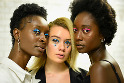 © Licensed to London News Pictures. 14/09/2019. LONDON, UK.  Models backstage ahead of the Simon Mo show during Fashion Scout SS20, an off schedule show at Victoria House in Bloomsbury Square, during London Fashion Week.  Photo credit: Stephen Chung/LNP
