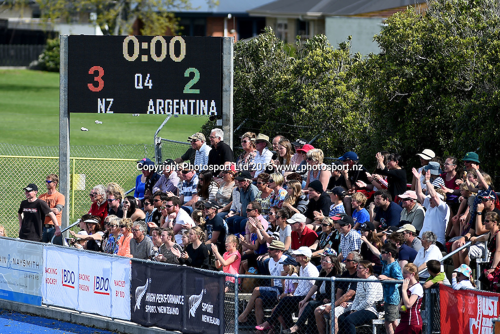 Final score during the 2015 South Island Tour game between the New Zealand Black Sticks Women v Argentina. College Park, Blenheim, New Zealand. Sunday 4 October 2015. Copyright Photo: Chris Symes / www.photosport.nz
