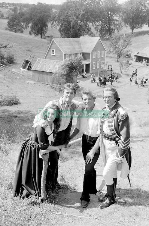 "File photo dated 30/07/58 of (left to right) Janette Scott, Burt Lancaster, Kirk Douglas and Sir Laurence Olivier on the set of ""The Devil's Disciple"". Douglas is celebrating his 100th birthday today."