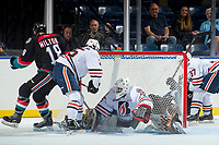 KELOWNA, CANADA - SEPTEMBER 5: Dallon Wilton #18 of the Kelowna Rockets scores a goal against Kyle Dumba #45 of the Kamloops Blazers on September 5, 2017 at Prospera Place in Kelowna, British Columbia, Canada.  (Photo by Marissa Baecker/Shoot the Breeze)  *** Local Caption ***