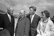 14/06/1963<br /> 06/14/1963<br /> 14 June 1963<br /> Finnish Peat Society visit to Ireland. Forty-eight members of the Finnish Peat Society arriving at Dublin Airport for a three day visit to Ireland, among them top executives of Finnish firms using peat, for visits to Bord na Mona's works in Kildare and Offaly. Picture shows Mr. D.C. Lawlor (left) Managing Director, Bord na Mona, chatting with some of the Finns on arrival (l-r)  Mr. V. Puustjarvi, University of Helsinki and Mr and Mrs A. Suomnen. Mr. Suomnen was a managing Director of the Finnish Peat Industry.