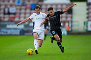 2nd Aug 2019, East End Park, Dunfermline, Fife, Scotland, Scottish Championship football, Dunfermline Athletic versus Dundee;  Josh Todd of Dundee goes past Aaron Comrie of Dunfermline Athletic