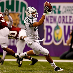 December 18, 2010; New Orleans, LA, USA; Ohio Bobcats wide receiver Steven Goulet (87) celebrates a touchdown against the Troy Trojans during the first half of the 2010 New Orleans Bowl at the Louisiana Superdome.  Mandatory Credit: Derick E. Hingle