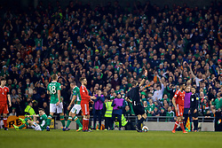 DUBLIN, REPUBLIC OF IRELAND - Friday, March 24, 2017: Wales' Neil Taylor is shown a red card and sent off by Referee Nicola Rizzoli after a tackle on Republic of Ireland's Seamus Coleman during the 2018 FIFA World Cup Qualifying Group D match at the Aviva Stadium. (Pic by David Rawcliffe/Propaganda)