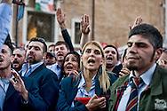 Roma  6 Novembre 2013<br /> Centinaia di autisti autorganizzati dell' ATAC, il trasporto pubblico di Roma, manifestano al Campidoglio, contro le politiche dell'azienda, per gli straordinari imposti e la carenza di organico.<br /> Gli autisti  rifiutano gli straordinari e contestano  anche la politica dei sindacati . Al centro della foto Micaela Quintavalle, autista e leader  della protesta nata via Facebook<br /> Rome November 6, 2013<br /> Hundreds of drivers of self-organized  of the  ATAC, Rome's public transport, manifest at the Capitol against the company's policies, imposed for overtime and lack of staff.<br /> The drivers refuse overtime and also question the policy of trade unions. Micaela Quintavalle, driver and leader of the protest born via Facebook (C)