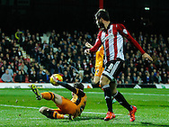 Andrew Robertson of Hull City and Marco Djuricin of Brentford during the Sky Bet Championship match between Brentford and Hull City at Griffin Park, London<br /> Picture by Mark D Fuller/Focus Images Ltd +44 7774 216216<br /> 03/11/2015