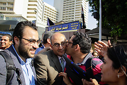 May 24, 2017 - Cairo, Egypt - Prosecutors have ordered the release on bail of the Former Egyptian presidential candidate and rights lawyer Khaled Ali  accused of publicly making an obscene finger gesture in January. Prosecutors have set his bail at 1,000 Egyptian pounds in Cairo Egypt, on 24 May 2017. (Credit Image: © Ibrahim Ezzat/NurPhoto via ZUMA Press)