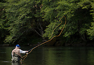 2016 JUN 16: Frank Moore, WWII Veteran, on the North Umpqua River in Oregon.